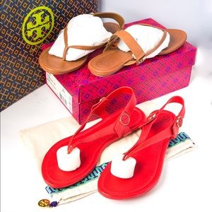 Two pair of Minnie travel sandal from Tory Burch